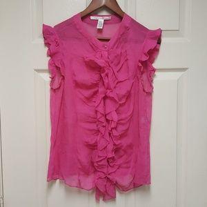 Diane von Furstenberg Pink sleeveless blouse Sz 14